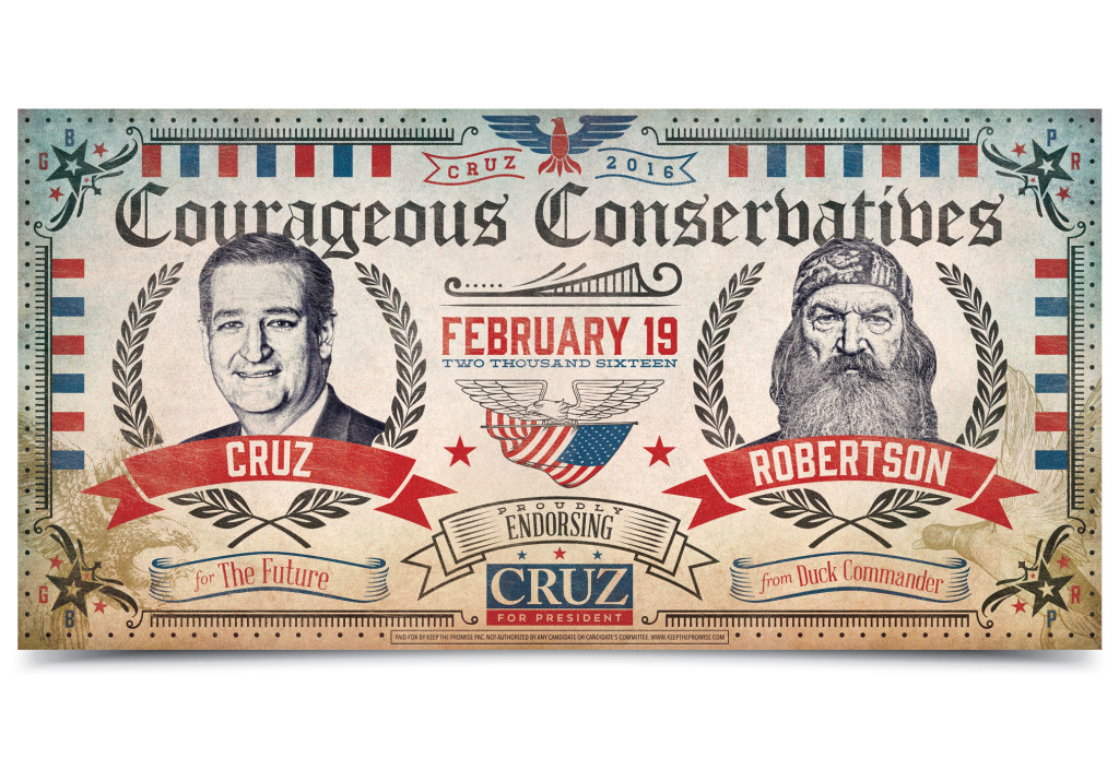 ted cruz poster design with phil robertson from duck dynasty